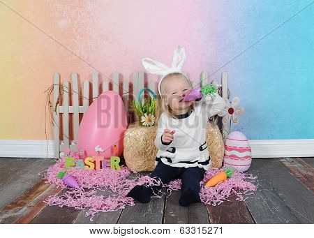 Cute Girl Being Silly At Easter