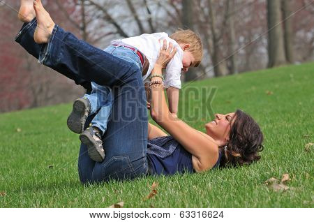 Mom Playing With Toddler Son