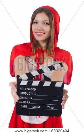 Young girl in red hood  with movie board  isolated on white