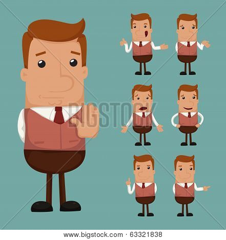 Set Of Businessman Emotion