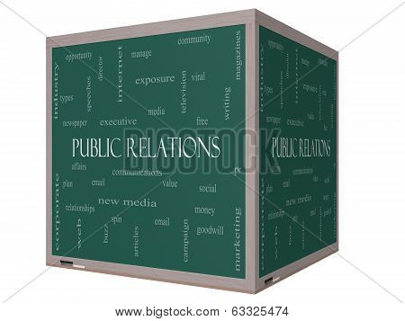 Public Relations Word Cloud Concept On A 3D Cube Blackboard