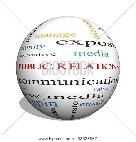 Public Relations 3D Sphere Word Cloud Concept