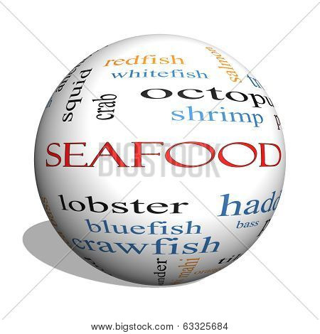 Seafood 3D Sphere Word Cloud Concept