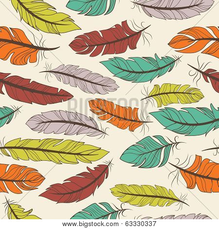 Seamless pattern of colorful feathers