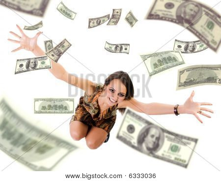 Beautiful Young Woman Throwing Mony Into Air