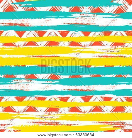 seamless ethnic zigzag pattern with brushstrokes