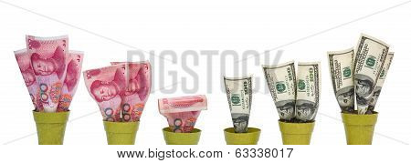 Rmb Dropping And Usd Rising With Clipping Path