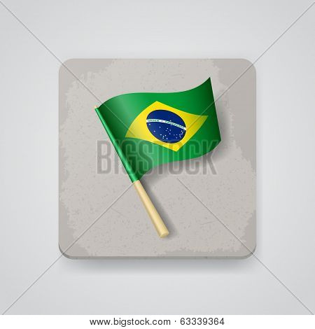 Brazil flag, vector icon