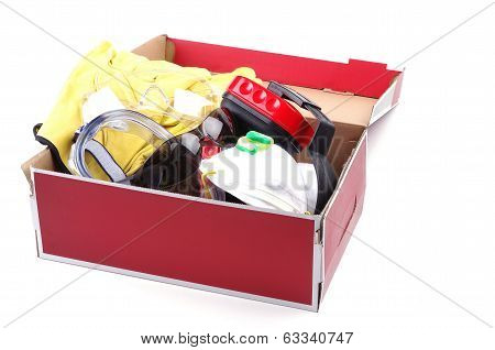 box of safety gear