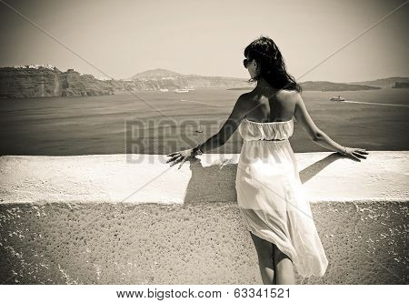 Young Woman In Santorini,thira