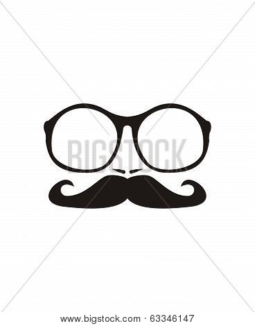 Men face with mustache and huge, hipster oldschool glasses vector illustration