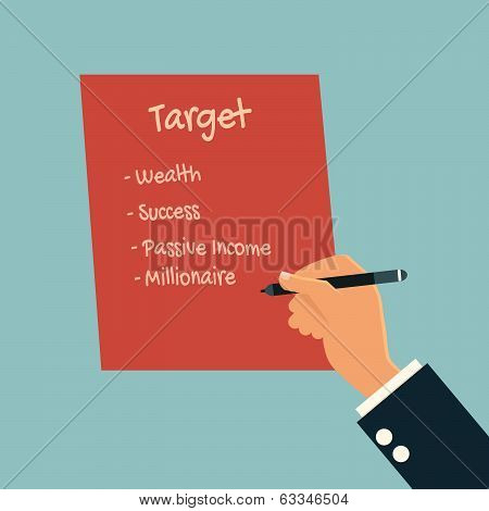 Businessman Writing His Life Plan On Paper, Success, Wealth,passive Income And Millionaire.