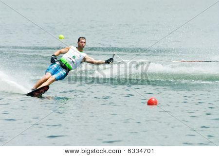 Man Slalom Waterski In Action