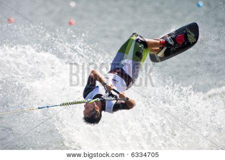 Waterski Man Shortboard In Action