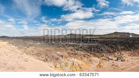 Cool Lava flow at Krafla area, Iceland. Panoramic photo