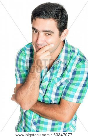 Curious hispanic man doing a funny inquisitive  gesture isolated on white