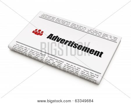 Advertising concept: newspaper with Advertisement and Business People