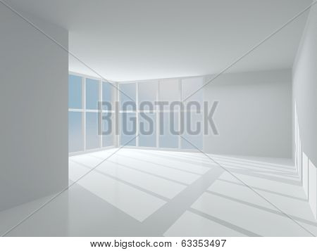 Interior Light Room With Large Windows. 3D Modern Interior.