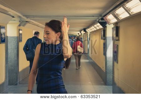 Pretty Girl Posing In Railroad Station Underpass