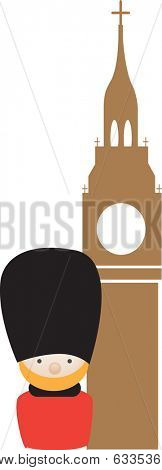 soldier with bearskin hat and big ben