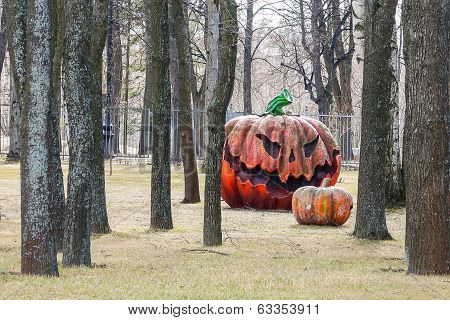 Pumpkin Effigy In A Summer Garden