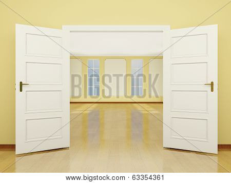 A Wide Open Door Entrance To The Living Room In Classic Style. 3D.