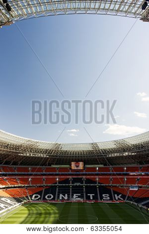 Donetsk, Ukraine, april 5 2014 Donbass arena stadium before football game between FC Shakhtar and FC