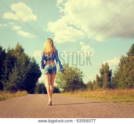 Sexy Blonde Woman Walking Away