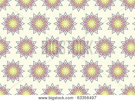 Modern Blossom In Abstract Style Pattern On Pastel Background