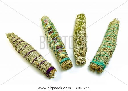 Sage Smudge Sticks Isolated On White Background