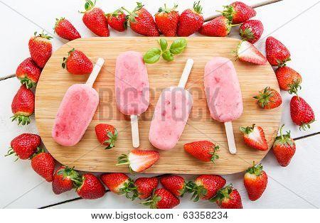 Homemade Ice Cream Pops With Fresh Berries.
