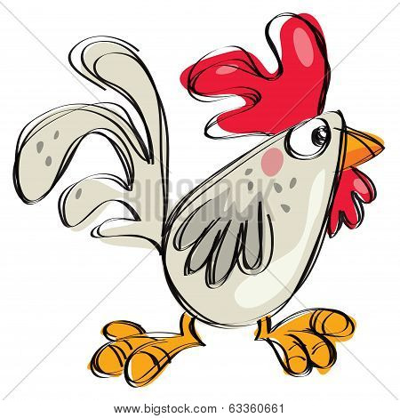 Cartoon Baby Rooster Naive Childish Drawing Style Isolated White Background
