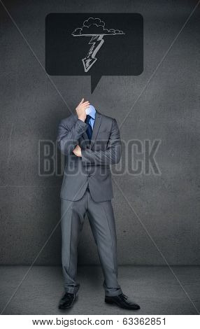 Composite image of headless businessman with lightning in speech bubble against speech bubble