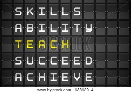 Teach buzzwords on digitally generated black mechanical board
