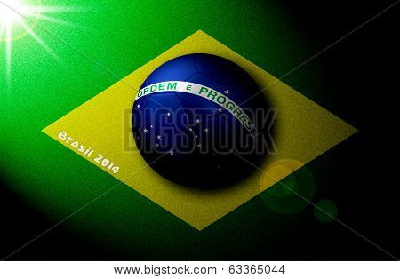 Brazilian Flag Drawn On Field With 3D Soccer Ball