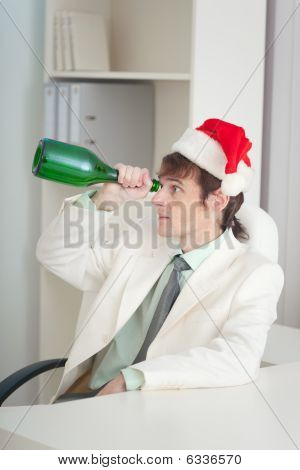 Businessman In White Jacket Celebrates Christmas