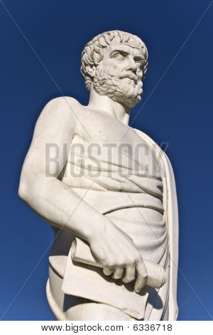 Aristotle statue located at Stageira of Greece
