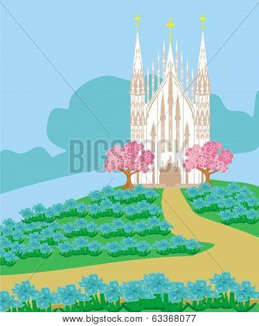 Landscape With A Beautiful Catholic Church