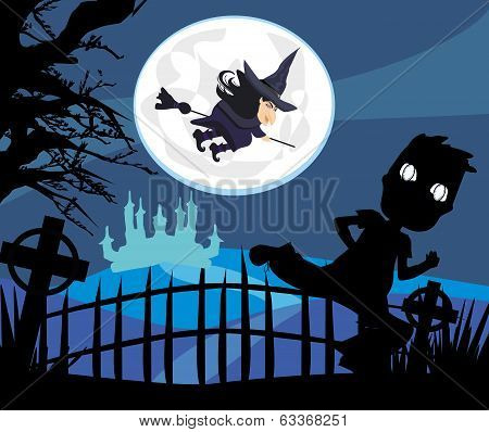 Witch Flying On A Broom In Moonlight.