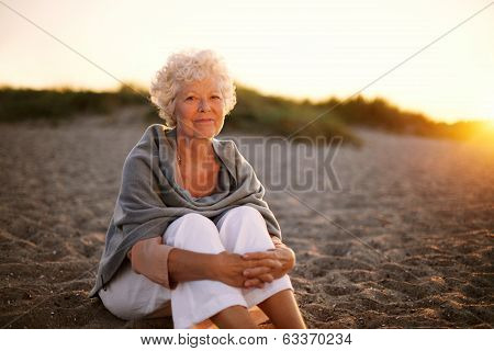 Retired Caucasian Lady Relaxing Outdoors