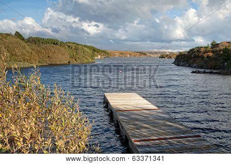 Wooden Pier On Irish River
