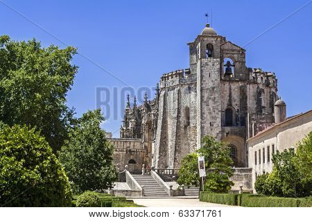 Tomar, Portugal - July 18, 2013: Templar Convent of Christ in Tomar, Portugal. One of the most important Templar headquarters in the world. UNESCO World Heritage