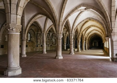 Alcobaca, Portugal - July 17, 2013: Alcobaca Monastery Dormitory. Masterpiece of the Gothic architecture. Cistercian Religious Order. Unesco World Heritage. Portugal