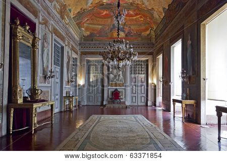 Mafra, Portugal - September 02, 2013: Throne Room or Audience Room. Mafra National Palace, Convent and Basilica. Baroque architecture.