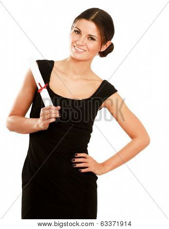 Beautiful woman student with diploma,isolated on white background