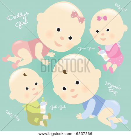 Babies Set 2 Isolated