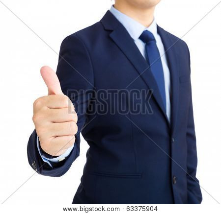 Businessman giving the thumb's up sign