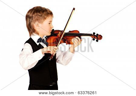 Little boy musician playing his violin. Isolated over white.
