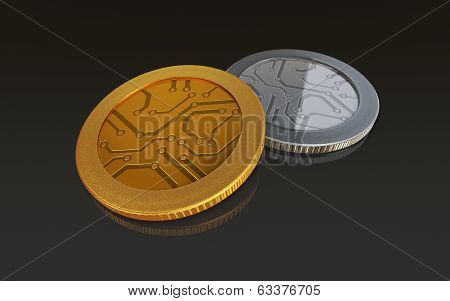 Digital Gold And Silver Coins Black