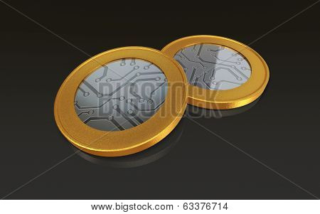 Digital Gold Silver Max Coins Black